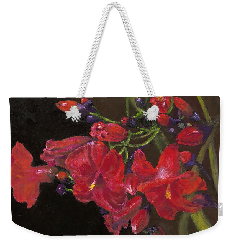 Red Weekender Tote Bag featuring the painting Bloomin' Red by Maria Gibbs