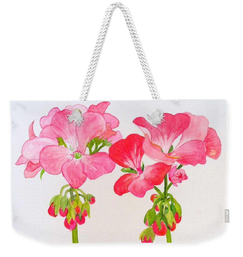 Blooms Weekender Tote Bag featuring the painting Blooming 1 by Mary Ellen Mueller Legault