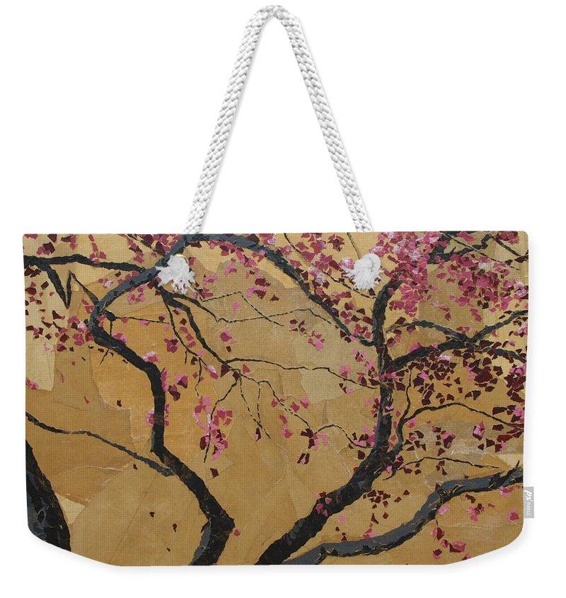 Tree Weekender Tote Bag featuring the painting Blooming Prairie Fire by Leah Tomaino