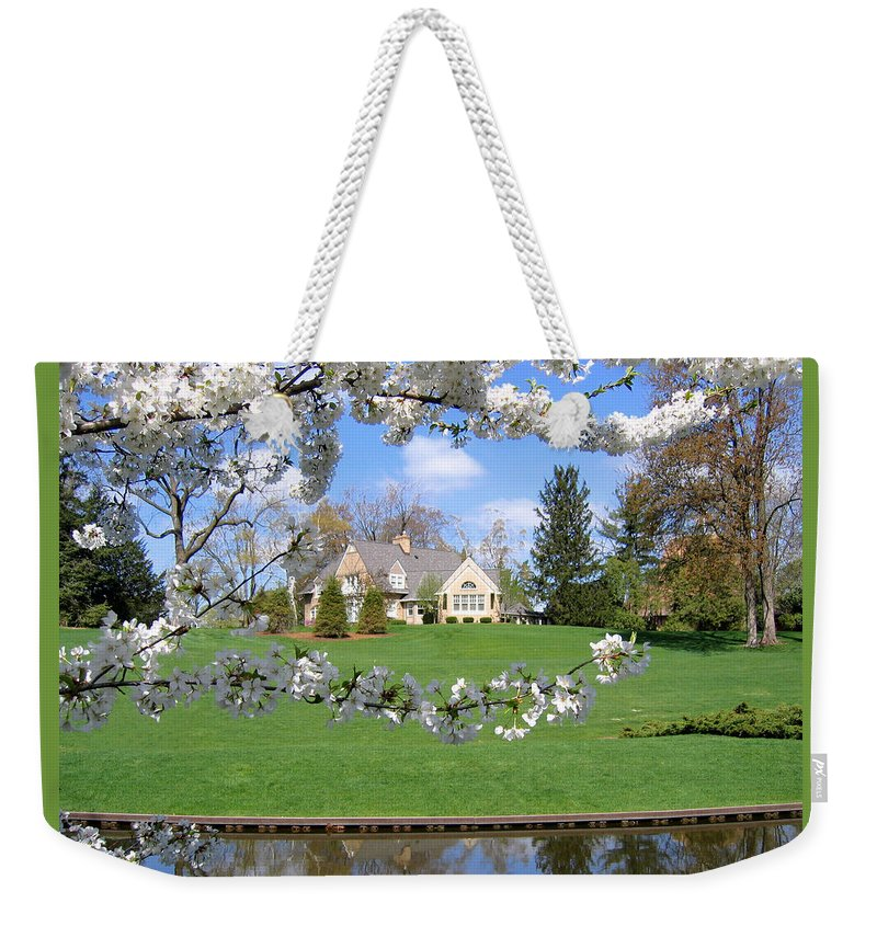 Spring Weekender Tote Bag featuring the photograph Blossom-framed House by Ann Horn