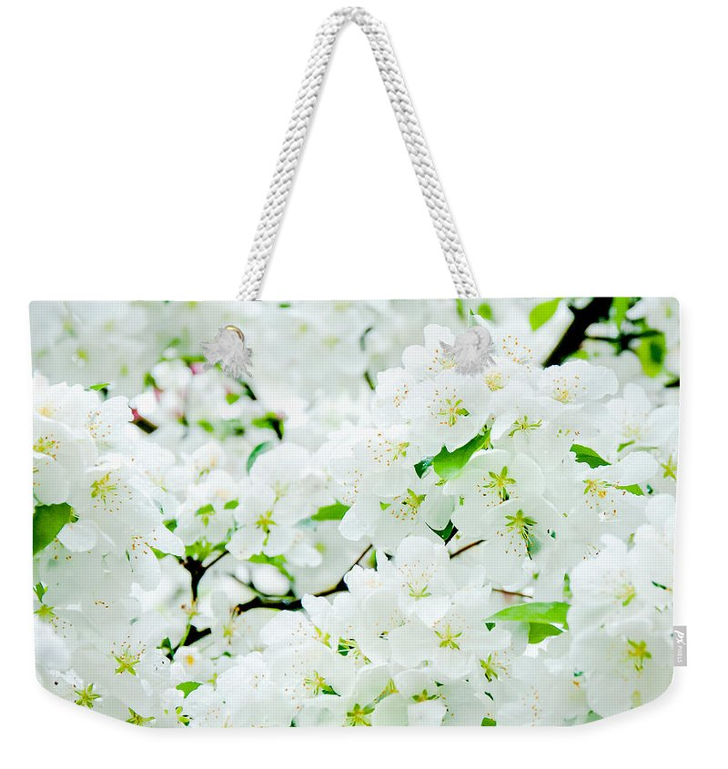 Blossoms Weekender Tote Bag featuring the photograph Blossoms Squared by Greg Fortier