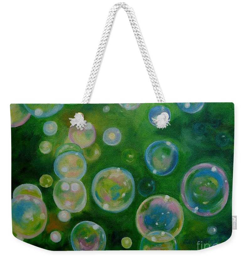Bubbles Weekender Tote Bag featuring the painting Blowing Bubbles by Julie Brugh Riffey