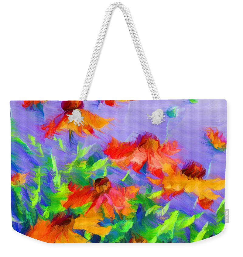 Blowing In The Wind Weekender Tote Bag featuring the painting Blowing In The Wind by Georgiana Romanovna