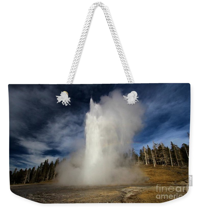Grand Geyser Weekender Tote Bag featuring the photograph Blowing Off Some Steam by Adam Jewell