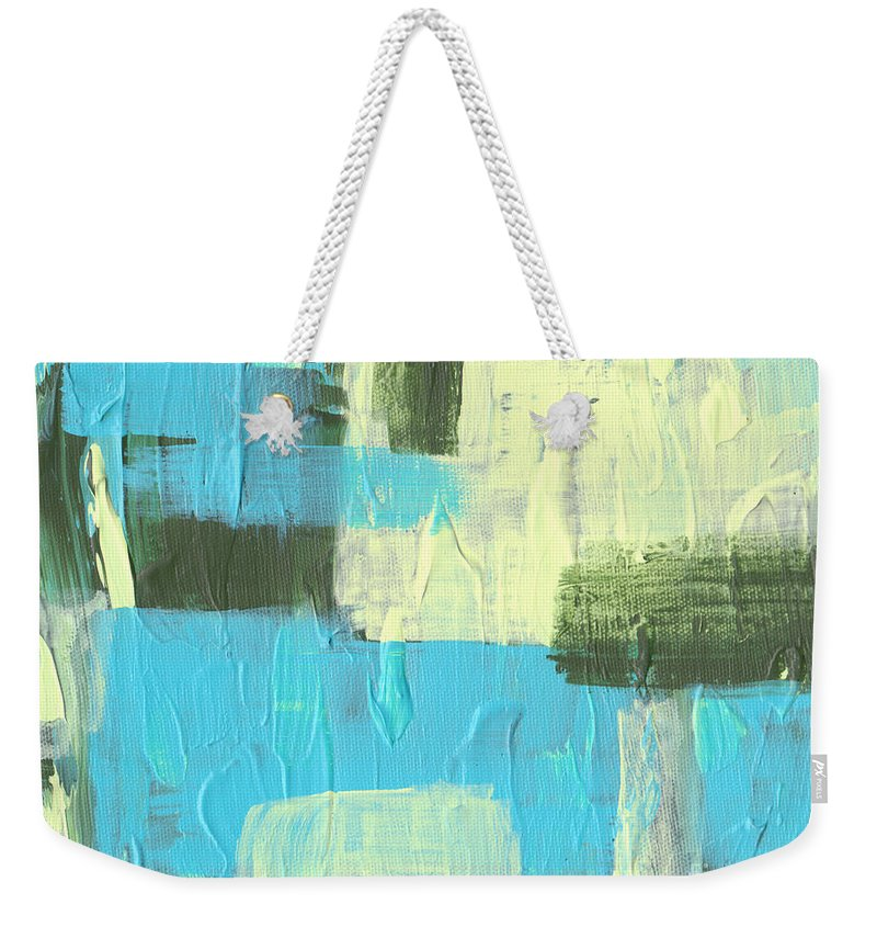 Blue Weekender Tote Bag featuring the painting Blue And Green Abstract by Paulette B Wright
