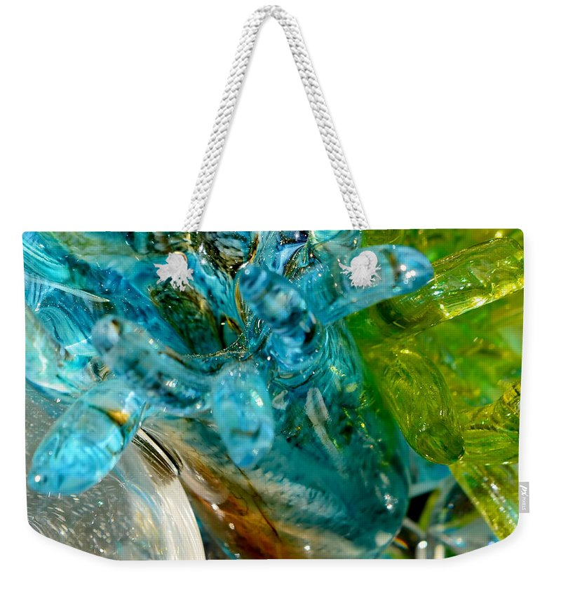 Blue Weekender Tote Bag featuring the photograph Blue And Green Glass Abstract by Olga Hamilton