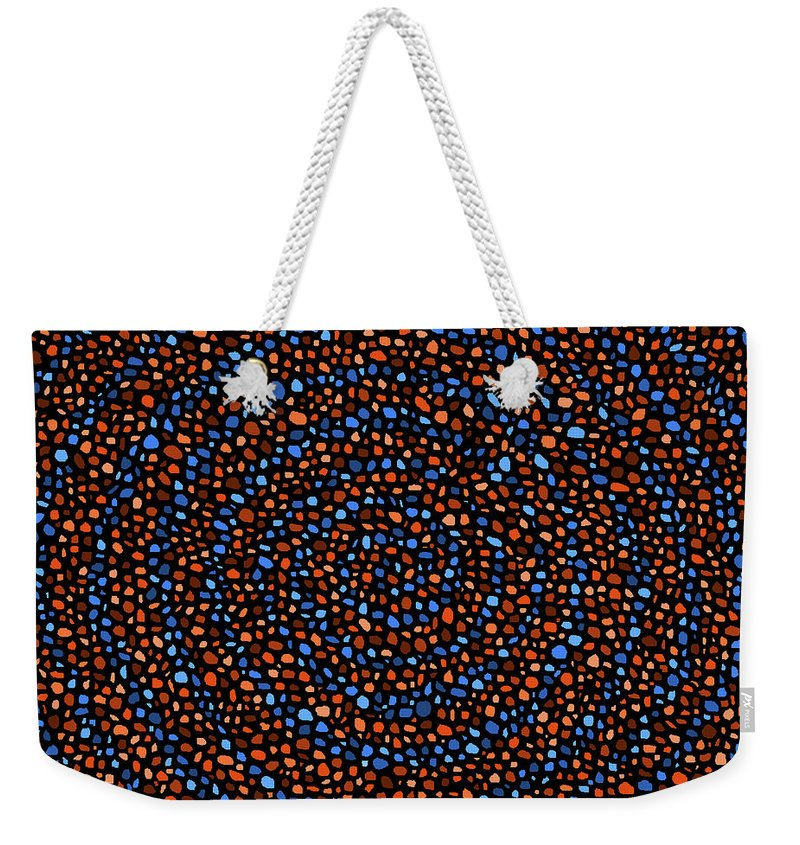 Blue Weekender Tote Bag featuring the digital art Blue And Orange Circles by Janice Dunbar