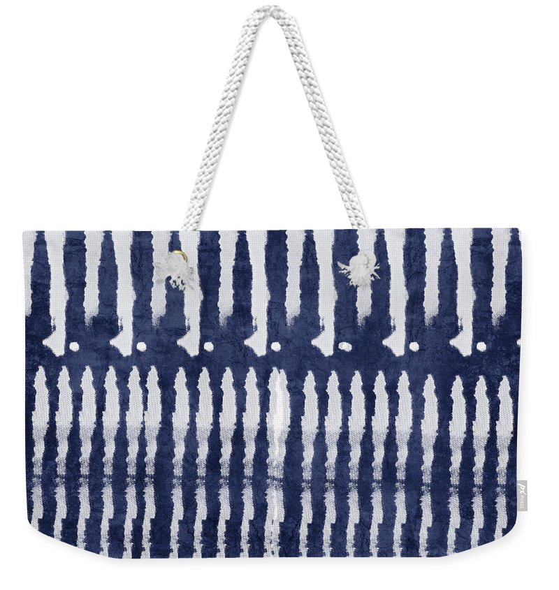 Blue Weekender Tote Bag featuring the painting Blue And White Shibori Design by Linda Woods