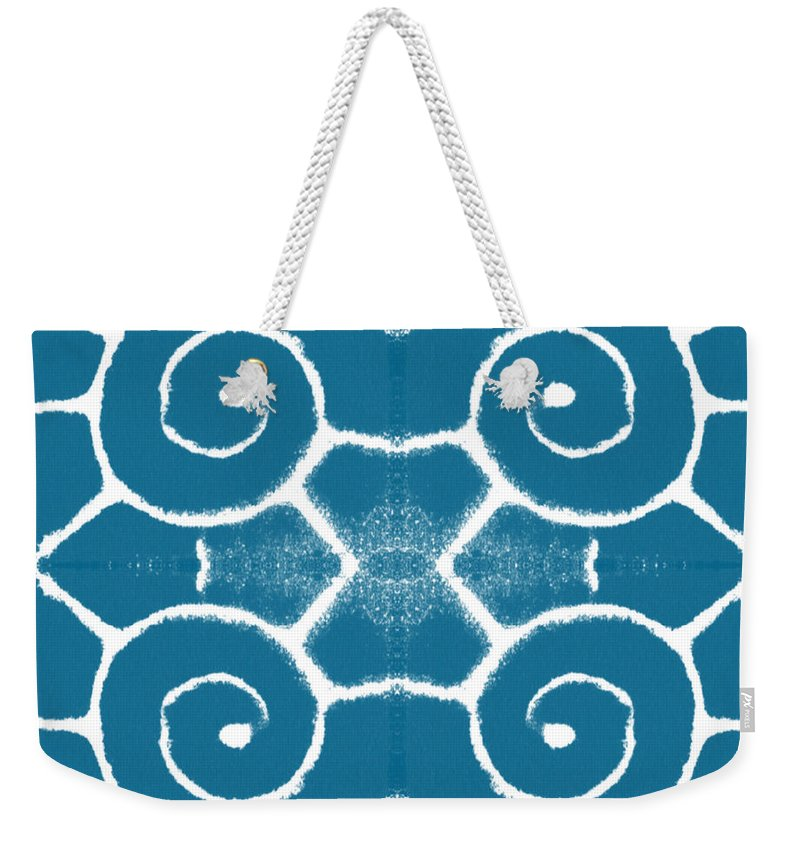 Wave Weekender Tote Bag featuring the painting Blue and White Wave Tile- abstract art by Linda Woods