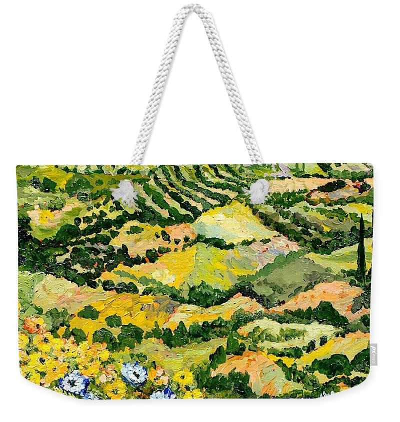 Landscape Weekender Tote Bag featuring the painting Blue And Yellow by Allan P Friedlander