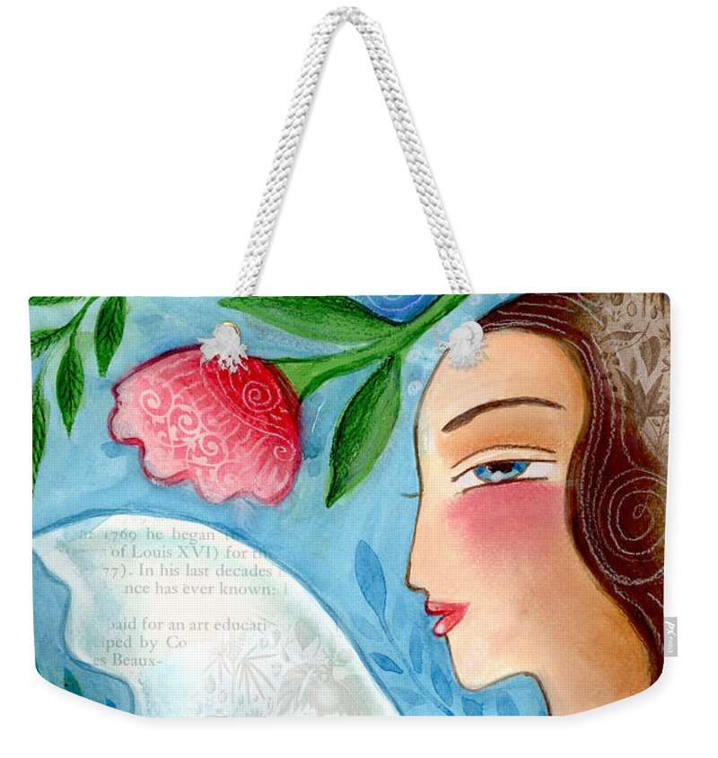 Angel Weekender Tote Bag featuring the mixed media Blue Angel by Elaine Jackson