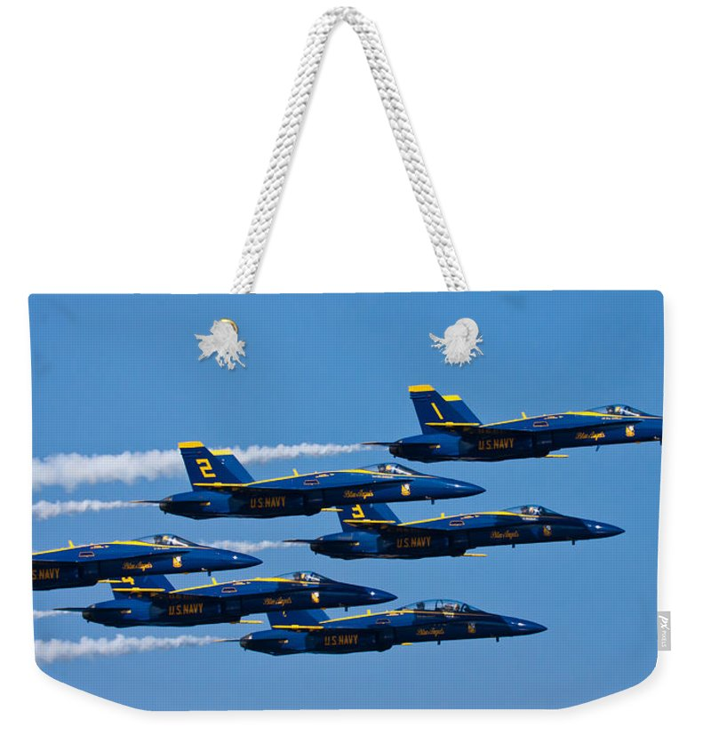 3scape Photos Weekender Tote Bag featuring the photograph Blue Angels by Adam Romanowicz