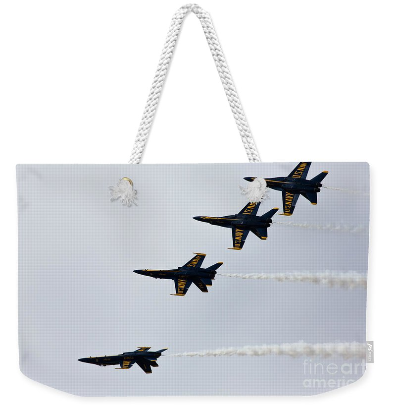 Blue Angels Weekender Tote Bag featuring the photograph Blue Angels Tuck Under Break by John Daly