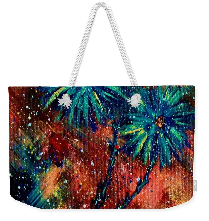 Flowers Weekender Tote Bag featuring the painting Blue Asters by Robin Monroe