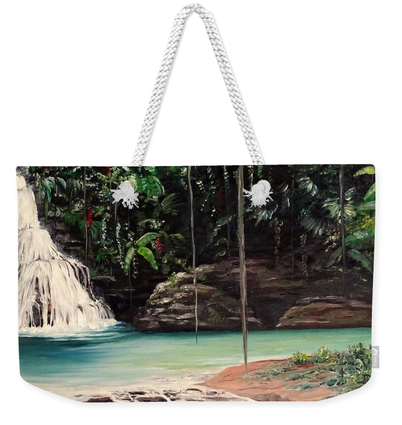 Tropical Waterfall Weekender Tote Bag featuring the painting Blue Basin by Karin Dawn Kelshall- Best