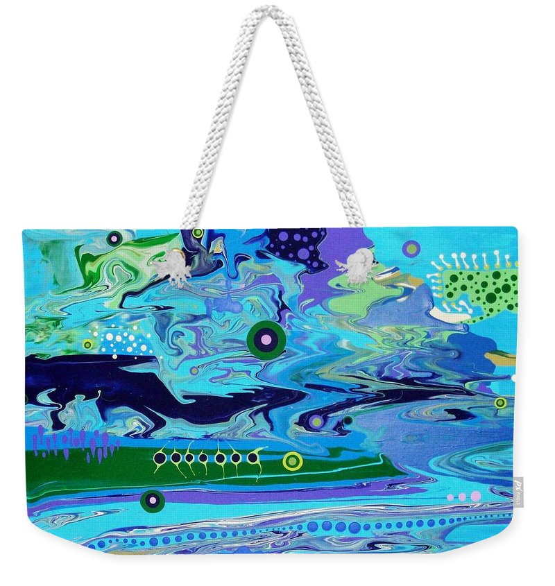 Abstract Weekender Tote Bag featuring the painting Blue Bayou by Charlotte Nunn