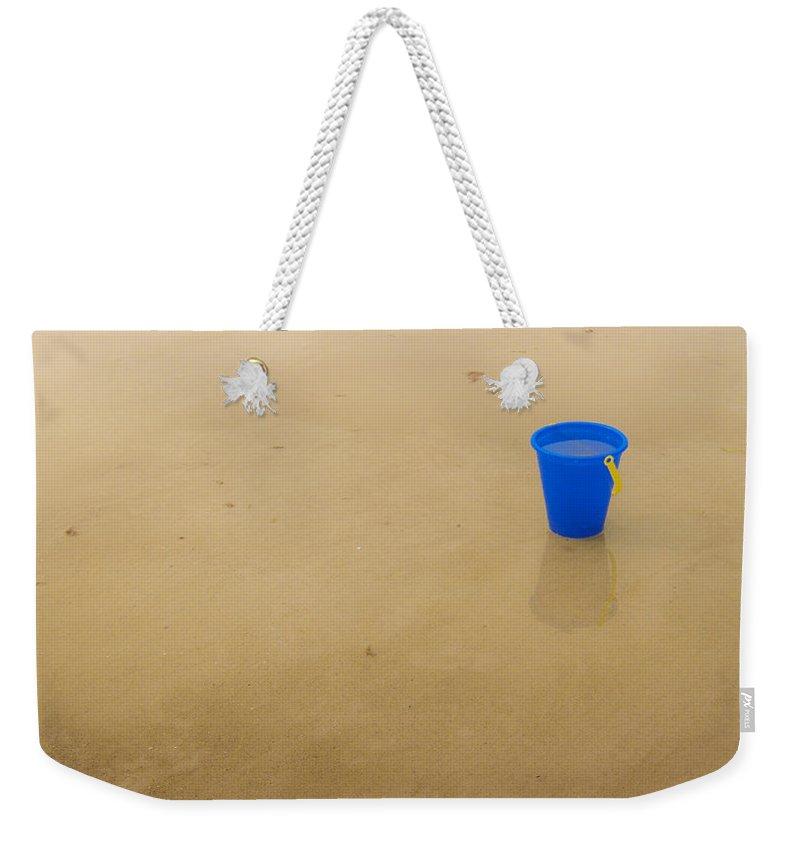 Crane Beach Weekender Tote Bag featuring the photograph Blue Beach Bucket by David Stone