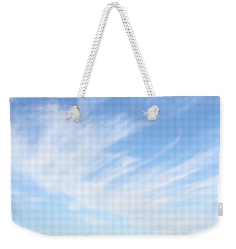Photo Weekender Tote Bag featuring the photograph Blue Bench by Alycia Christine