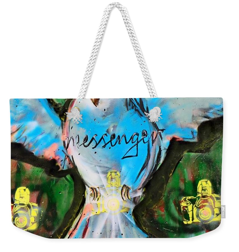 Messenger Weekender Tote Bag featuring the photograph Blue Bird by Munir Alawi