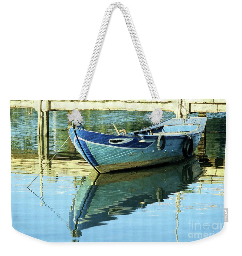 Vietnam Weekender Tote Bag featuring the photograph Blue Boat 01 by Rick Piper Photography