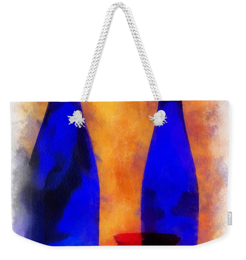 Bottle Weekender Tote Bag featuring the photograph Blue Bottles Photo Art by Thomas Woolworth