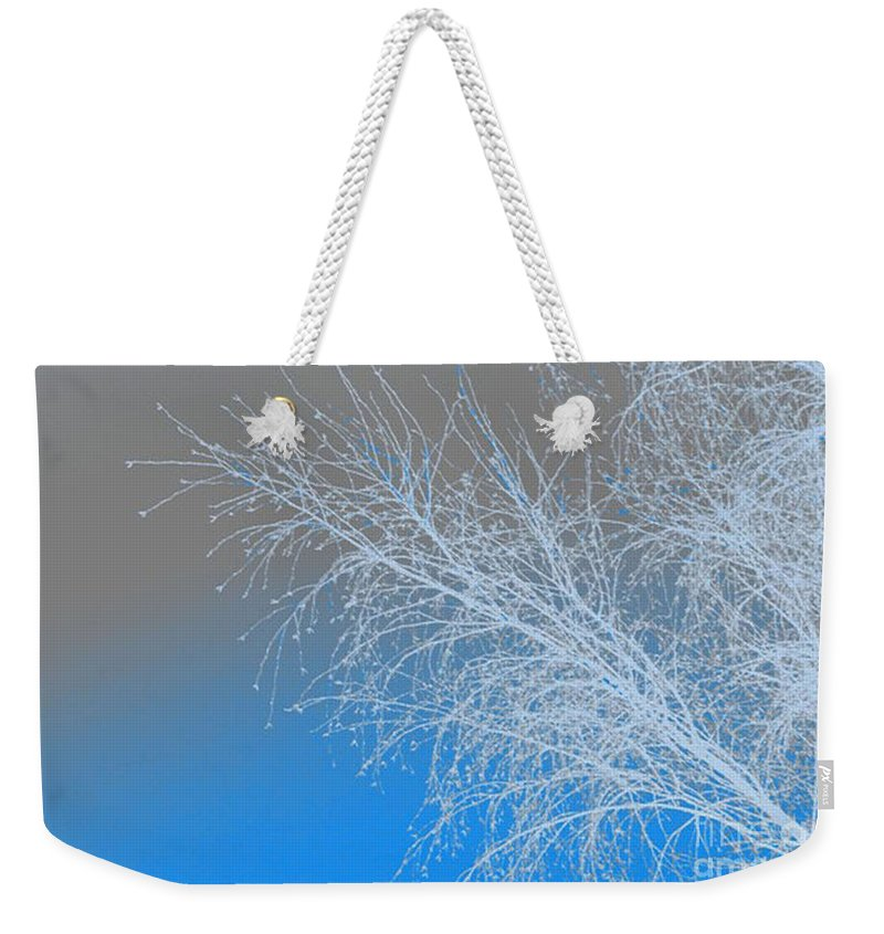 Blue Weekender Tote Bag featuring the digital art Blue Branches by Carol Lynch