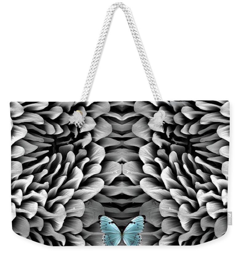 Microscope Weekender Tote Bag featuring the photograph Blue Butterfly And Antenna by Sheri Neva