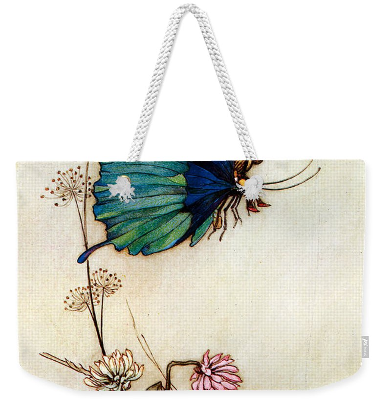 Warwick Goble Weekender Tote Bag featuring the digital art Blue Butterfly by Warwick Goble