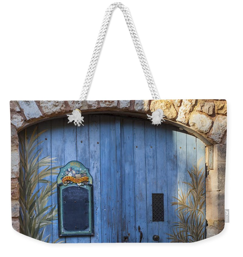 Blue Weekender Tote Bag featuring the photograph Blue Cafe Doors by Brian Jannsen
