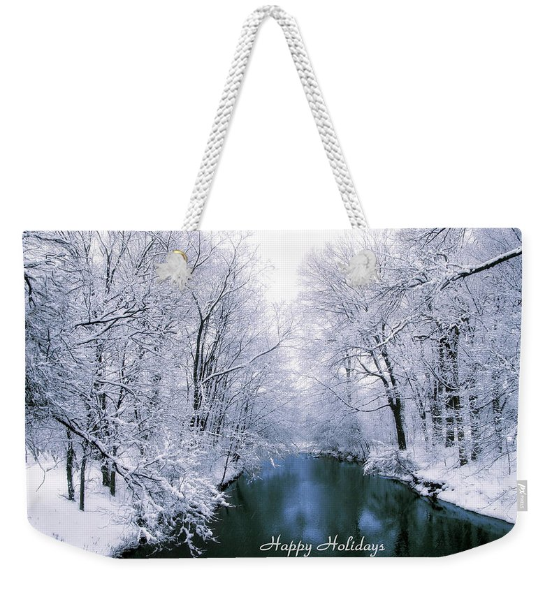 Christmas Card Weekender Tote Bag featuring the photograph Blue Christmas by Jessica Jenney