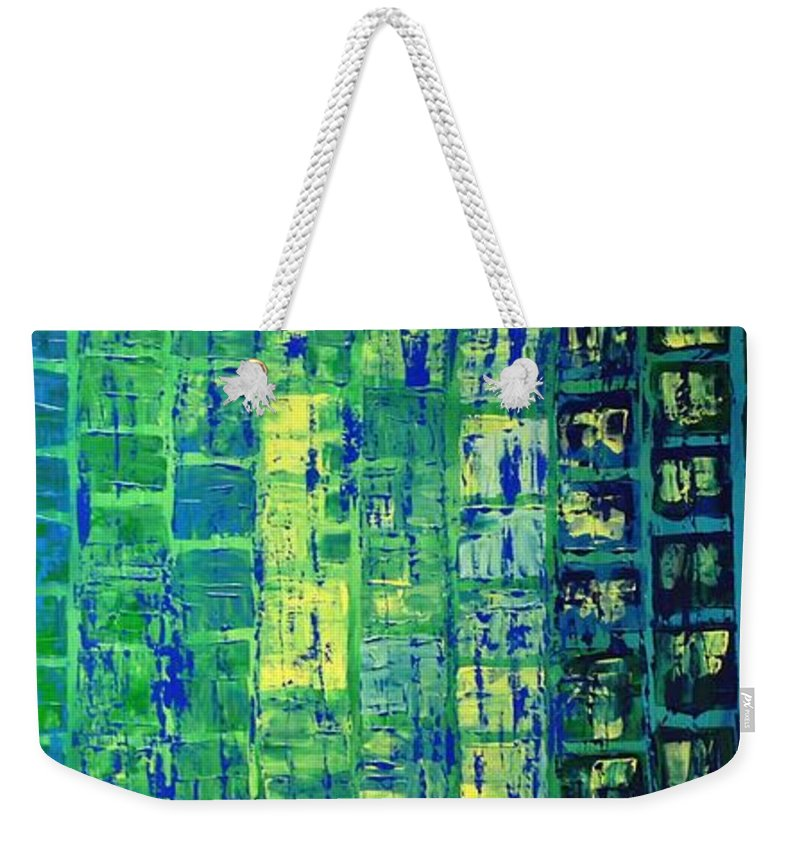 Blue City Weekender Tote Bag featuring the painting Blue City by Linda Bailey