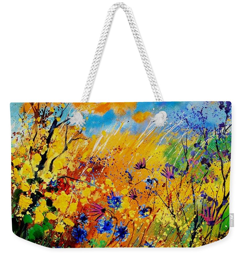 Poppies Weekender Tote Bag featuring the painting Blue Cornflowers 450408 by Pol Ledent