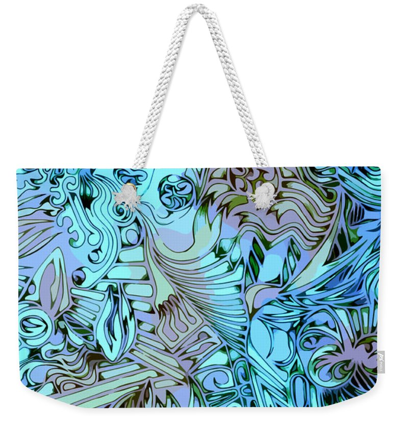 Abstract Seacorc Blue Weekender Tote Bag featuring the painting Blue Cow by Sean Corcoran