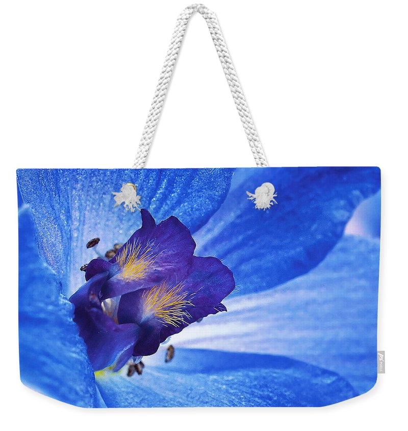 Blue Delphinium Weekender Tote Bag featuring the photograph Blue Delphinium by Ingrid Smith-Johnsen