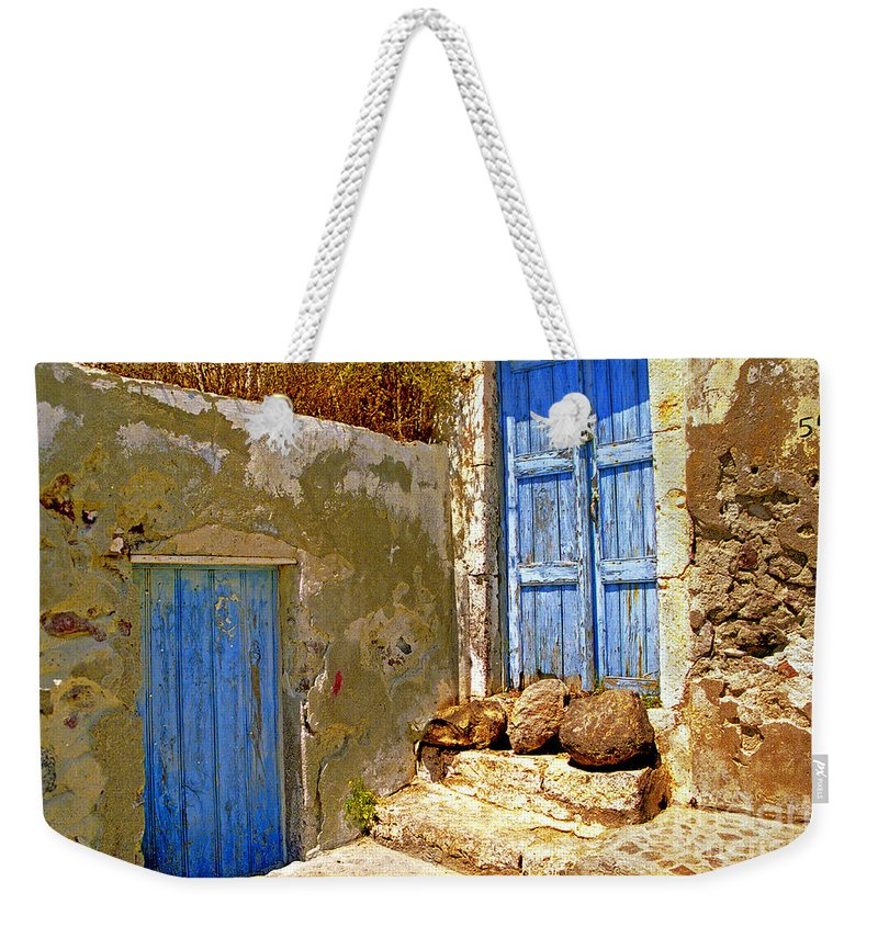 Greece Weekender Tote Bag featuring the photograph Blue Doors Of Santorini by Madeline Ellis