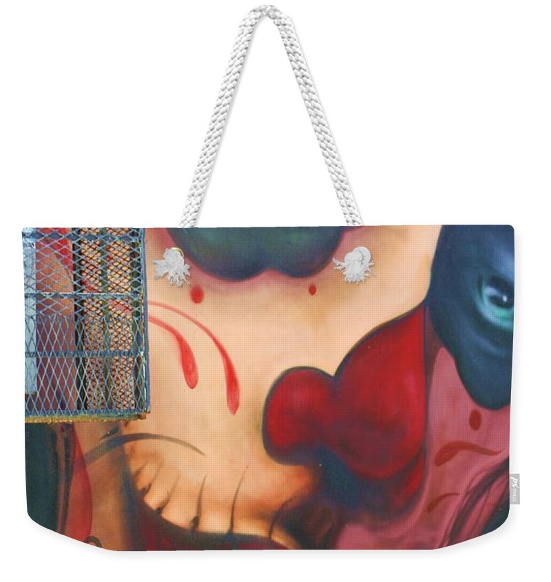 Graffiti Weekender Tote Bag featuring the photograph Blue Eyed Skull by Chuck Hicks