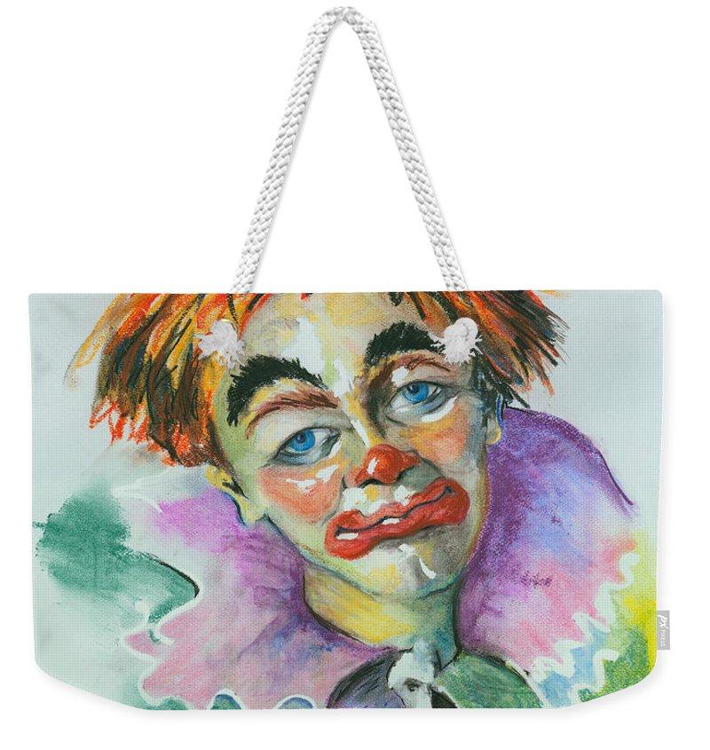 Canvas Print Weekender Tote Bag featuring the painting Blue Eyes by Elisabeta Hermann