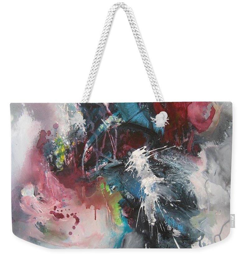 Abstract Paintings Weekender Tote Bag featuring the painting Blue Fever8 by Seon-Jeong Kim