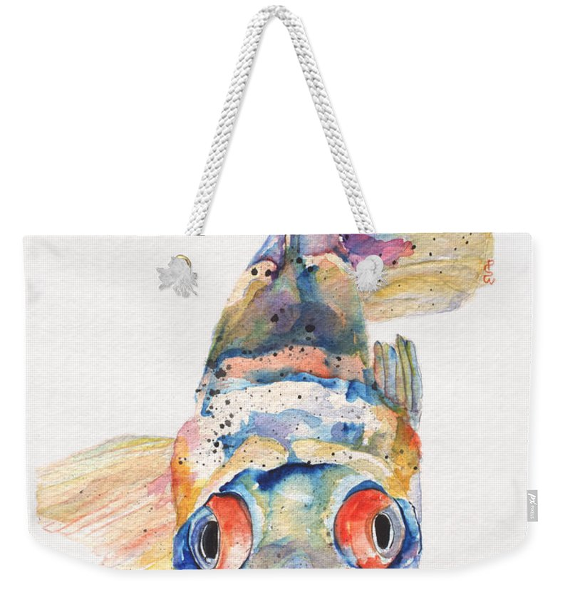 Pat Saunders-white Weekender Tote Bag featuring the painting Blue Fish  by Pat Saunders-White