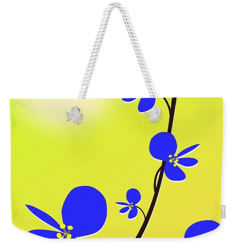 Nature Weekender Tote Bag featuring the digital art Blue Flowers by Anastasiya Malakhova