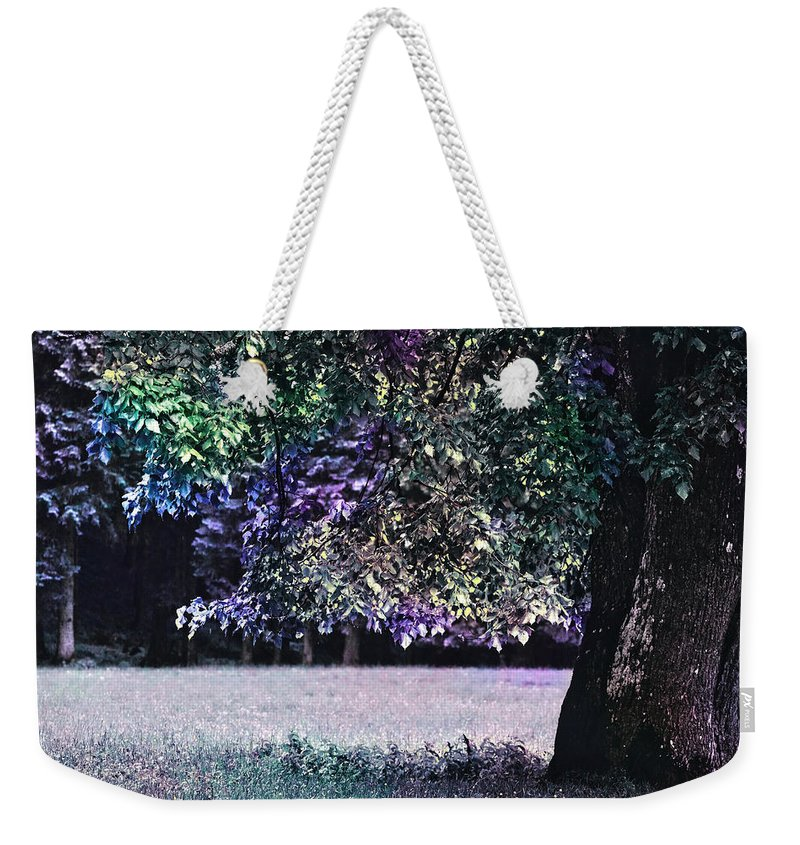 Purple Weekender Tote Bag featuring the photograph Blue Forest by Pati Photography