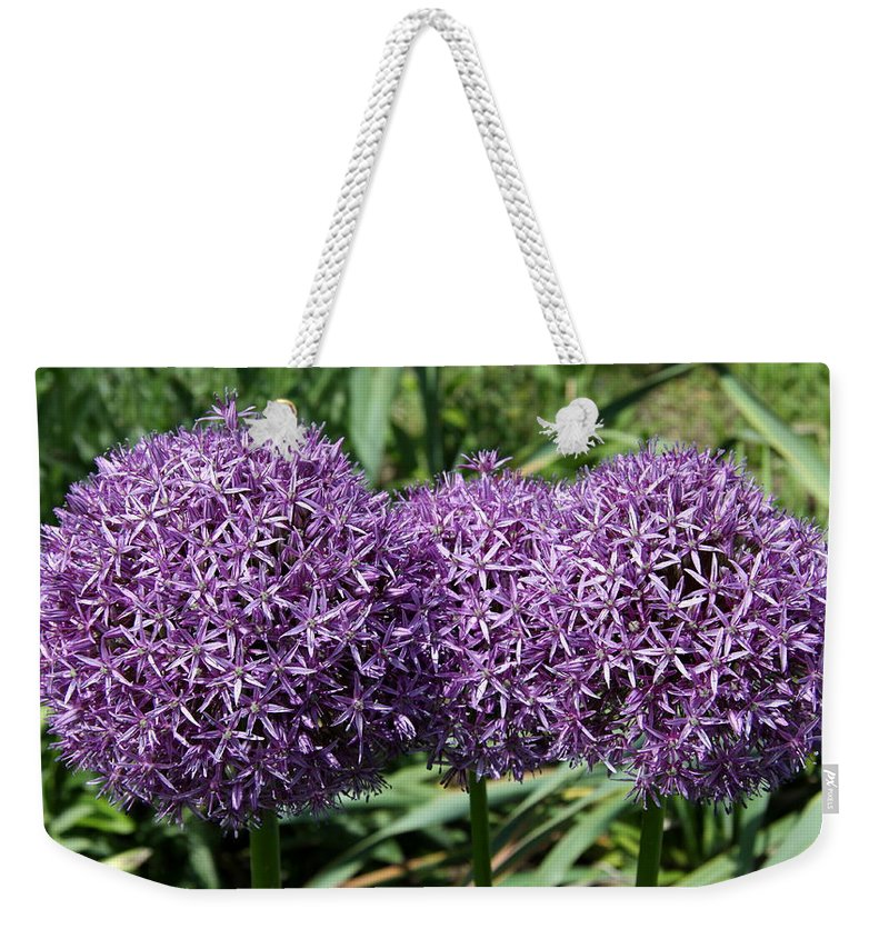 Allium Weekender Tote Bag featuring the photograph Blue Globes by Christiane Schulze Art And Photography