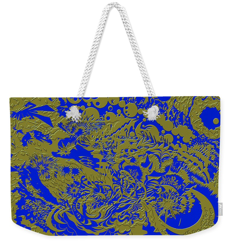 Tiles Abstract Blue Gold Seacorc Weekender Tote Bag featuring the painting Blue Gold 40 by Sean Corcoran