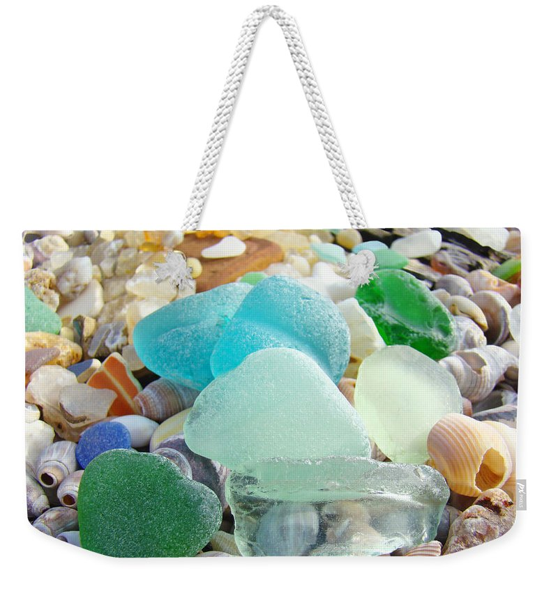 Decorative Weekender Tote Bag featuring the photograph Blue Green Sea Glass Coastal Art by Patti Baslee