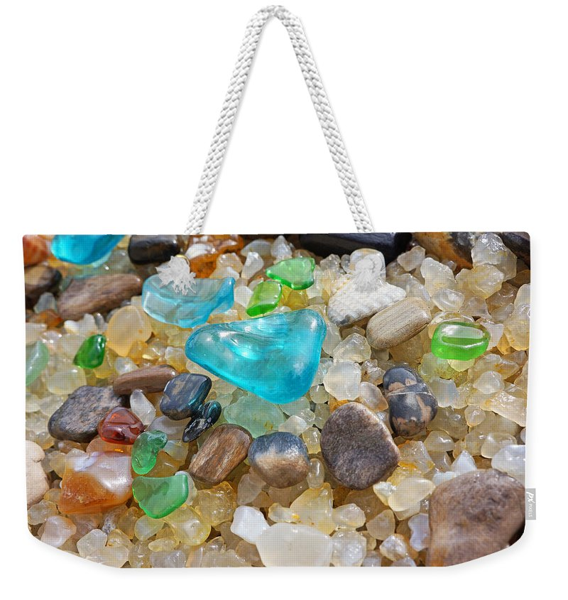 Decorative Weekender Tote Bag featuring the photograph Blue Green Seaglass Coastal Beach Baslee Troutman by Patti Baslee