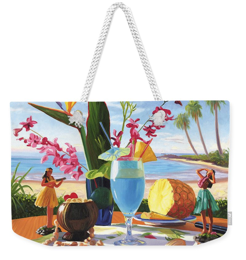 Blue Hawaiian Weekender Tote Bag featuring the painting Blue Hawaiian by Steve Simon