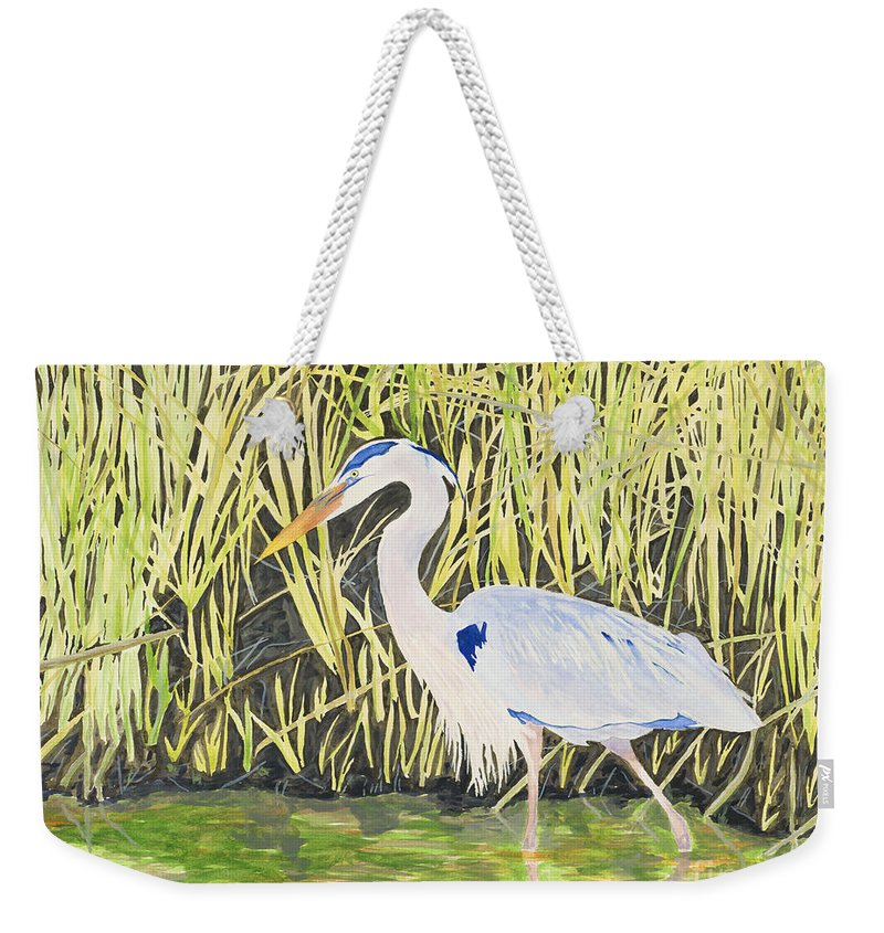 Blue Heron Fishing In Low Country Pond Near Tall Grasses In La Or Fl Weekender Tote Bag featuring the painting Blue Heron by Gary Johnson