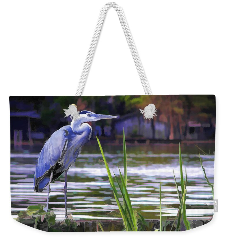 Bird Weekender Tote Bag featuring the painting Blue Heron On The Bay by Elaine Plesser