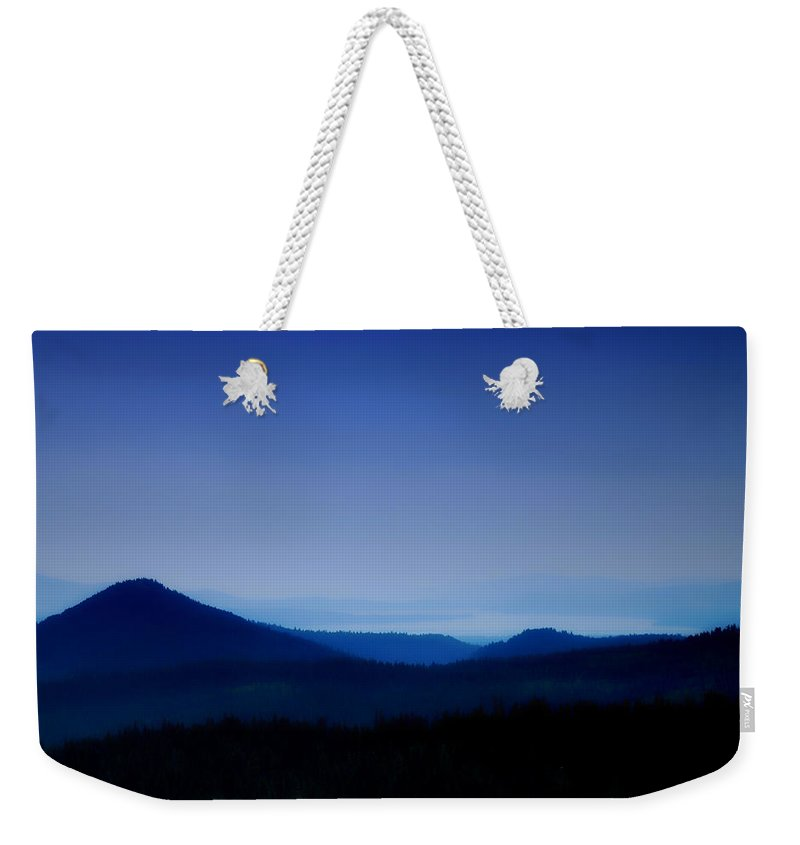 Mountains Weekender Tote Bag featuring the photograph Blue Horizon by Donna Blackhall