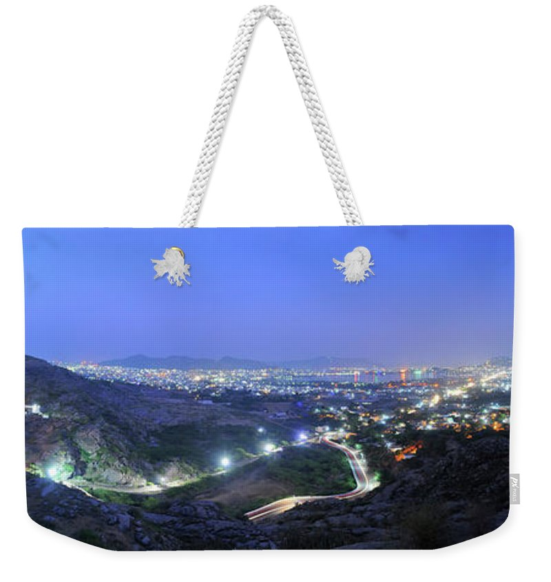 Scenics Weekender Tote Bag featuring the photograph Blue Hour Ajmer City Panorama by Nimit Nigam